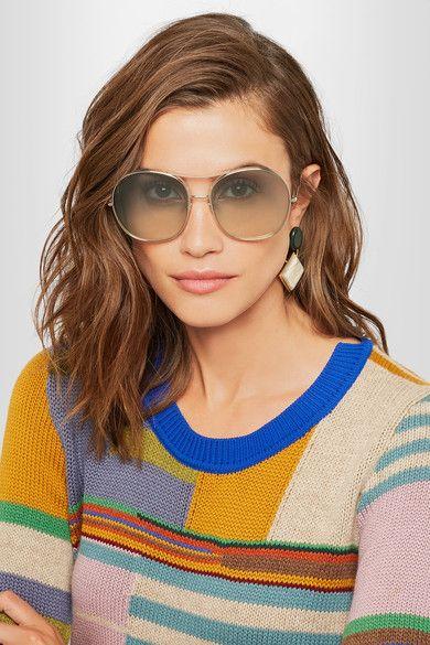 5860d0ca3f35 CHLOÉ Nola oversized square-frame stunning gold-tone sunglasses ...