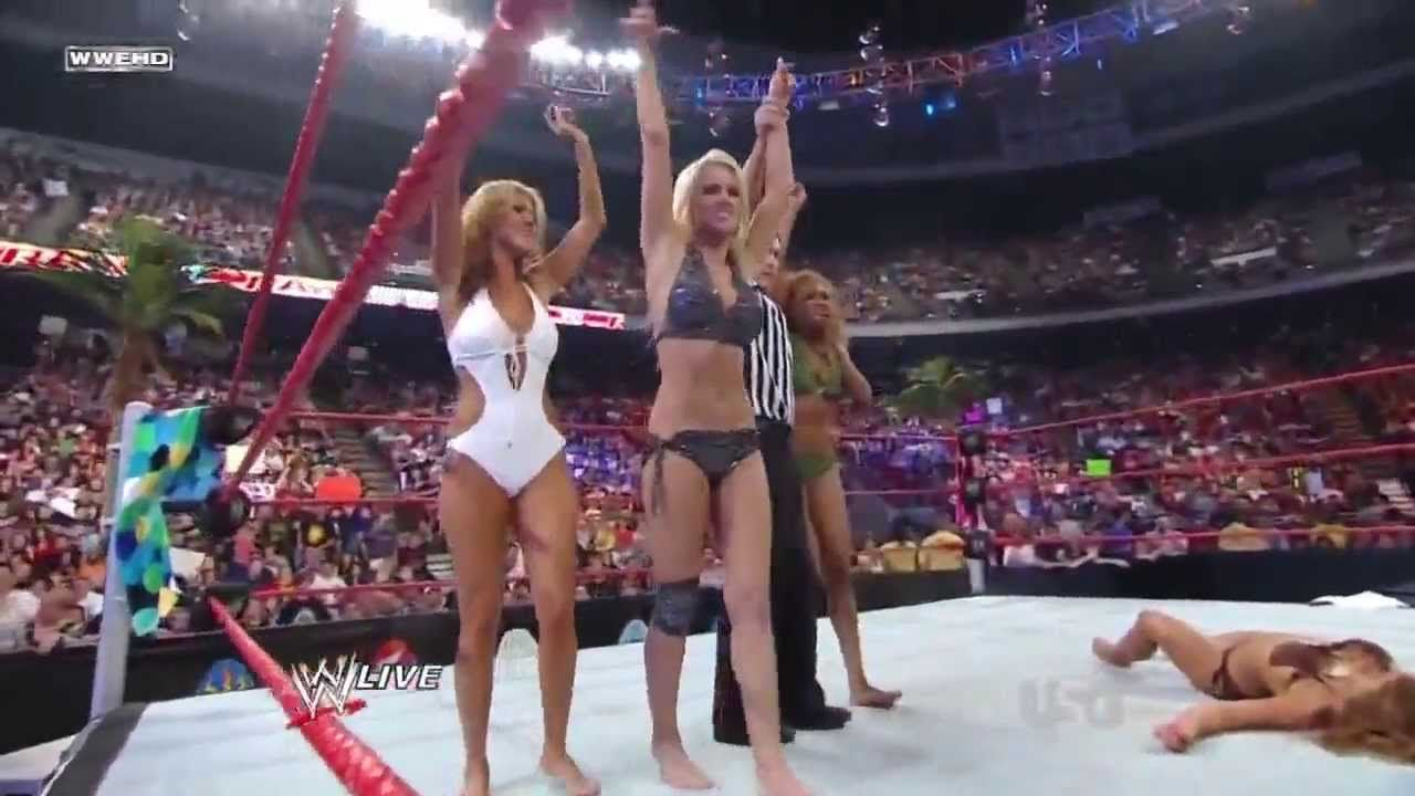 Barefoot Match Wwe Raw Swimsuit Tag Team Battle Royale Maryse French Kisses Mickie James