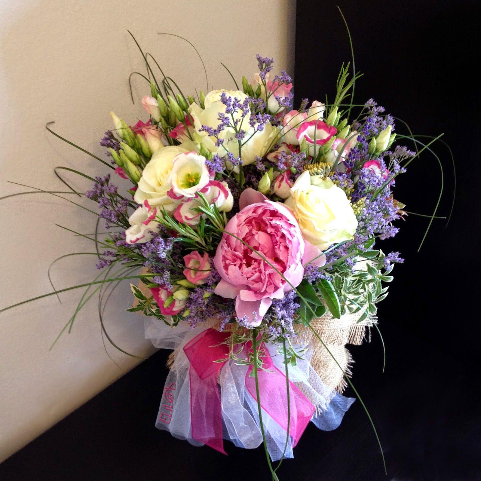 il mio bouquet dai colori pastello in stile shabby chic, peonie, lavanda e rose