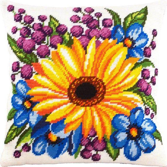 New Modern Cross Stitch Pillow kit, Pillow Embroidery Kit, Sunflower, Wildflowers Print, Art Cover f