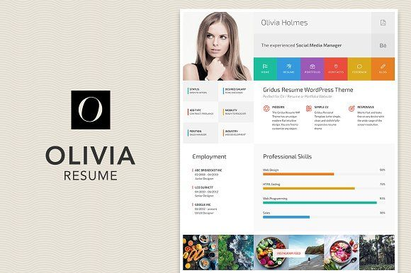 Resume CV Portfolio theme - Olivia @creativework247 Pinterest - resume wordpress theme