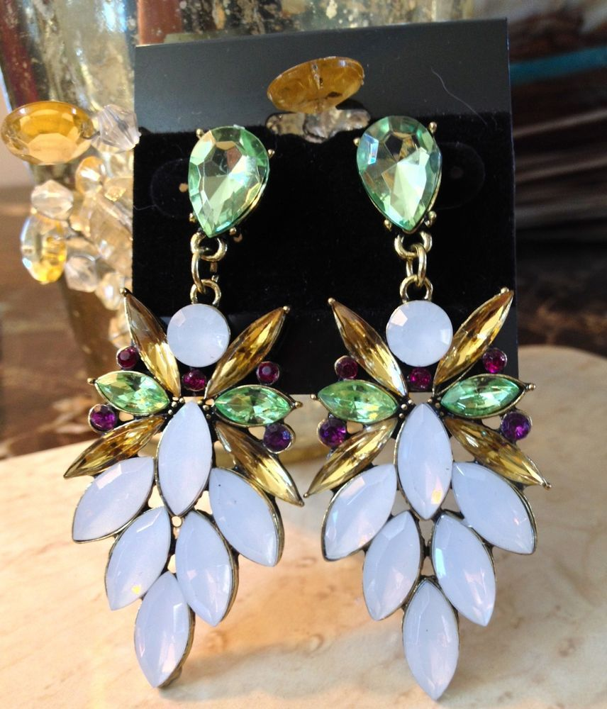 NEW Deco Boho Crystal Drop Dangle Statement Pierced Earrings Women's Post US #Statement