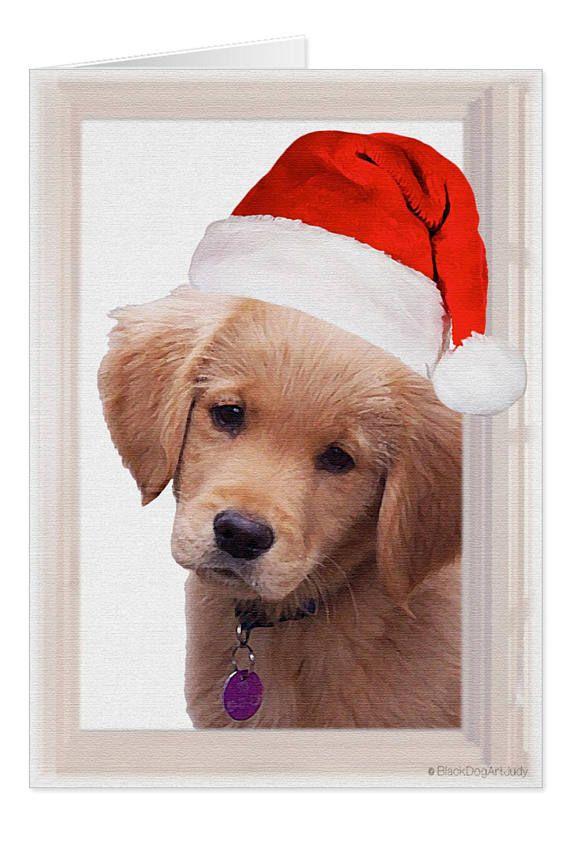 Golden Retriever Christmas Card Golden Retriever Art 2A   Yellow Lab ...