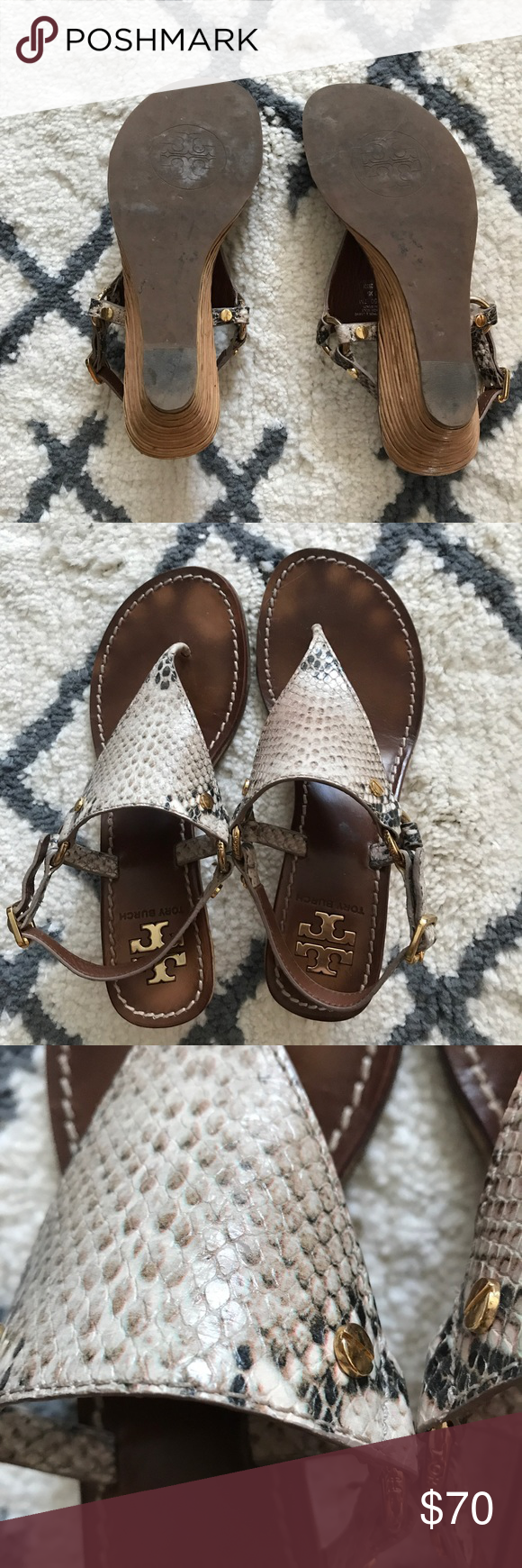 e1531cc6b76bd Tori Birch Snakeskin Wedge Sandals Tori Birch Snakeskin Wedge Sandals - in good  condition - size