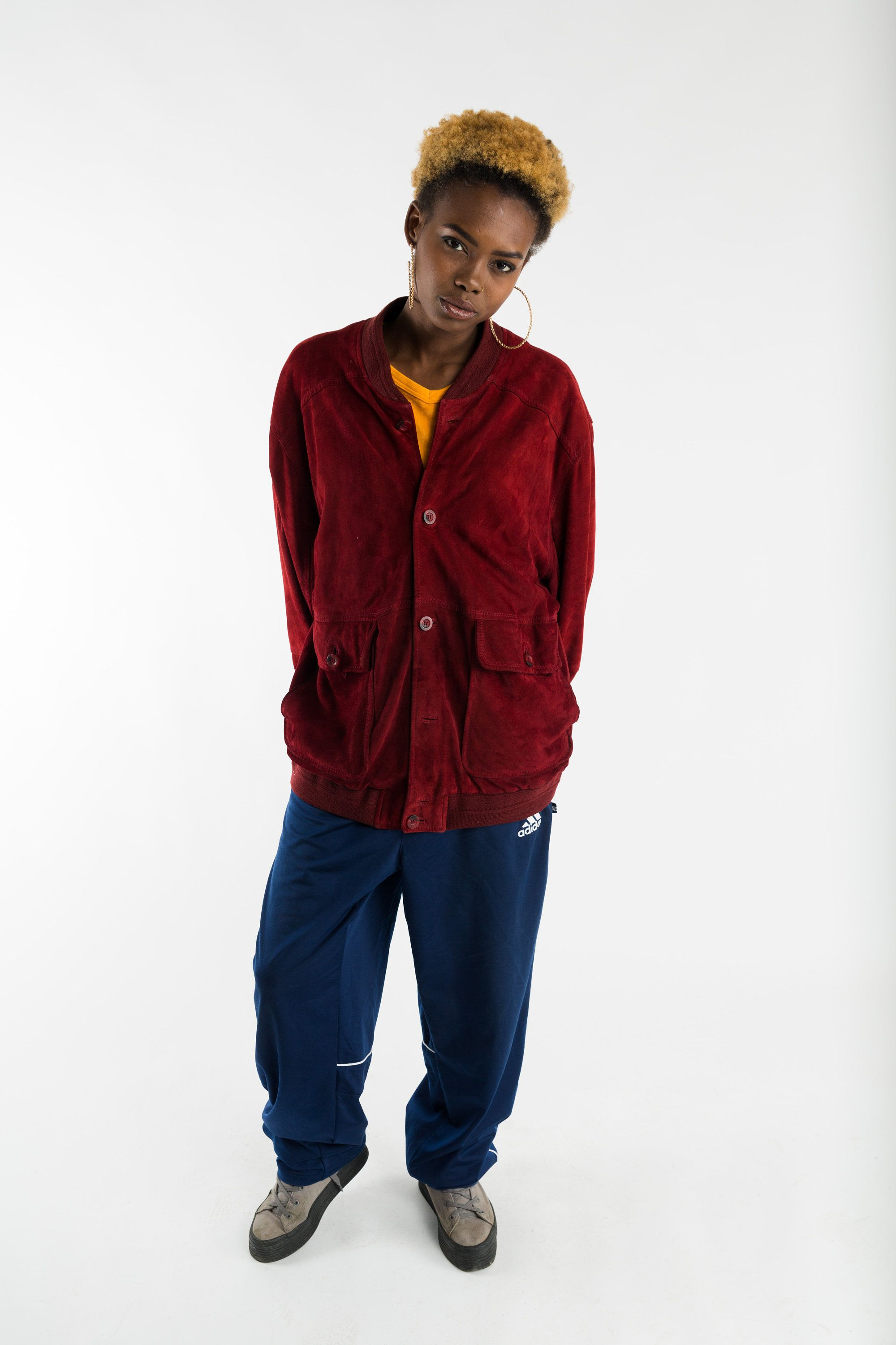 Suede oversized jacket / Vintage red suede blouson jacket