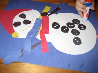 assembling a snowman craft based on the first day of winter by