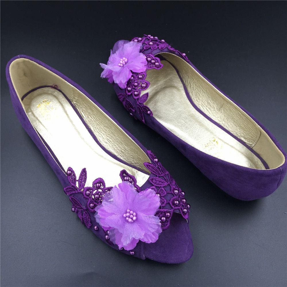 Purple Peep Toe Bridal ShoesPurple Open Bridesmaid Shoeswedding Shoes