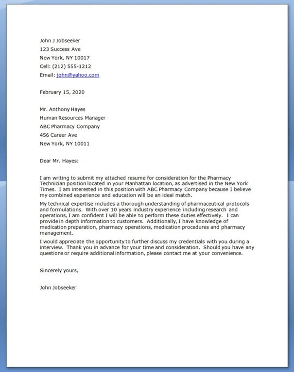 Pharmacy Technician Cover Letter Cover Letter For Resume