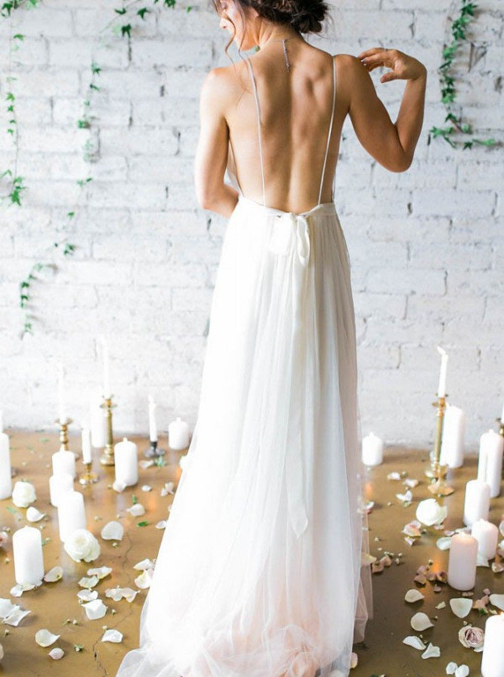 Aline deep vneck sweep train backless ivory chiffon wedding dress