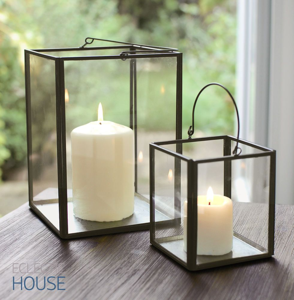 Metal Pillar Candle Holders : Zinc metal frame glass box lantern tealight votive