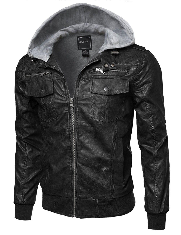 Men's Refined FauxLeather Moto Jacket With Detachable