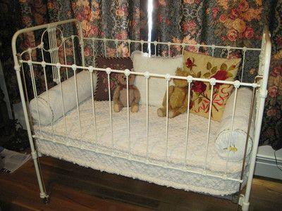 Fabulous Antique Ornate Victorian Iron Baby Bed Crib Circa1890 S