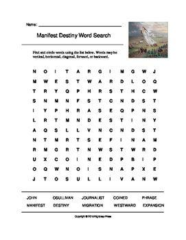 manifest destiny word search grades 3 5 westward expansion pinterest word search word. Black Bedroom Furniture Sets. Home Design Ideas