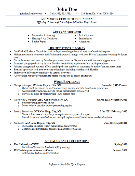 Automotive Technician Resume Examples Auto Mechanic Engine Repair