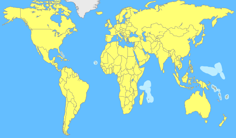 Quiz Identify The Capitals Of These Countries Around The World - World map with country names