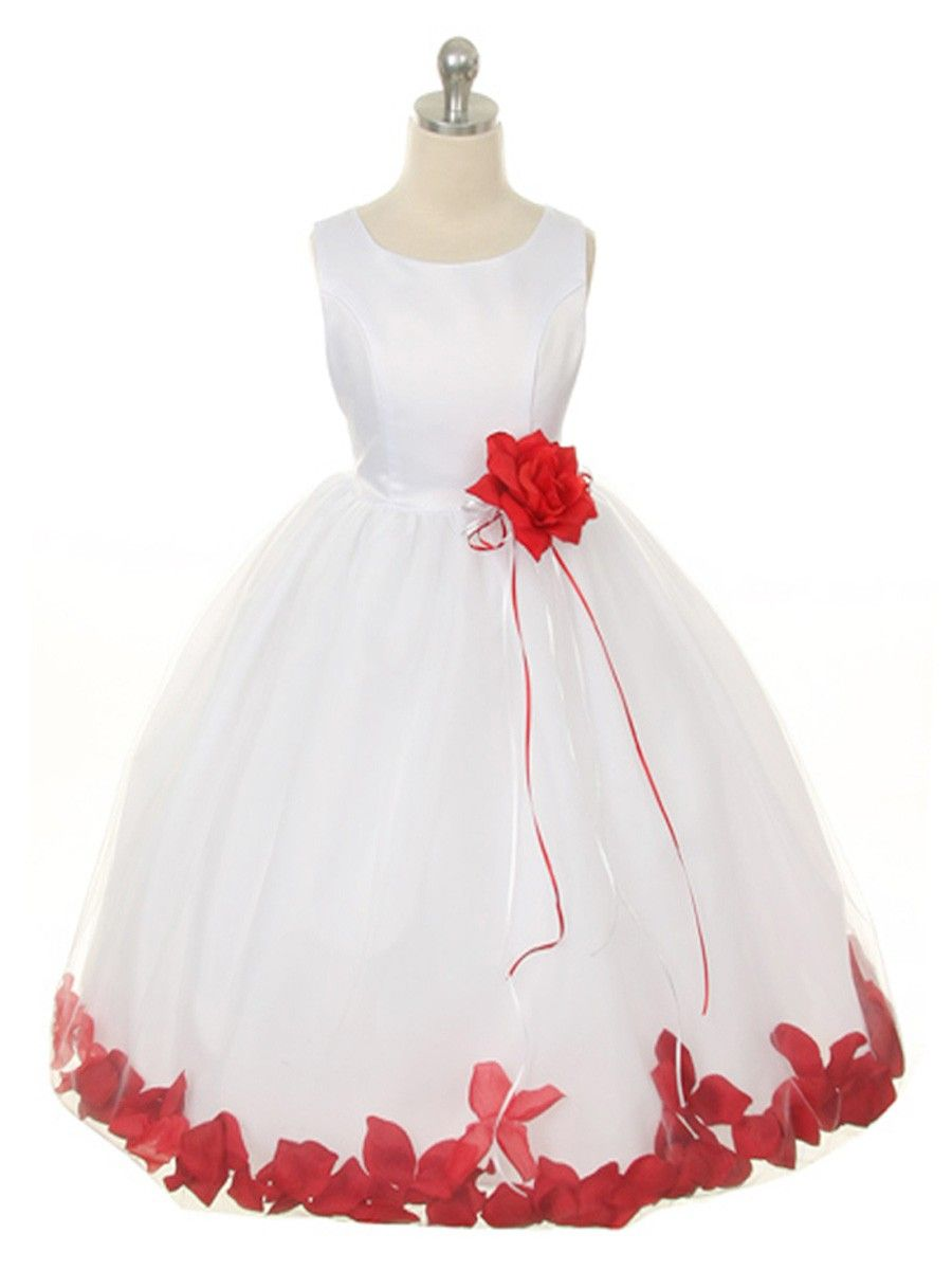 White Dress With Red Petals White Flower Girl Dresses Red