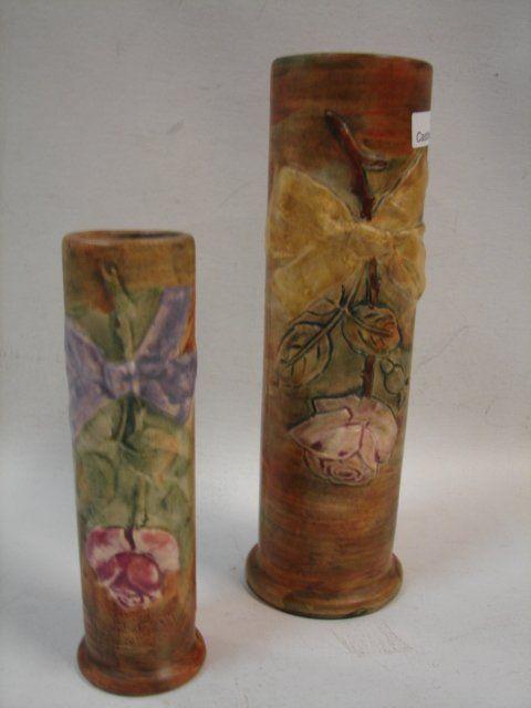 247 Weller Pottery 2 Vases On Zanesville Area Pottery