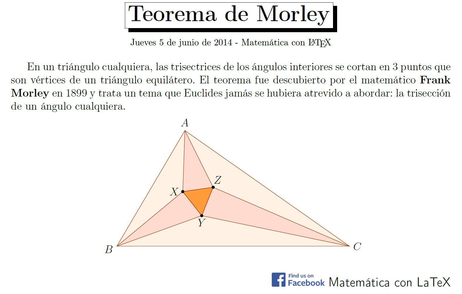Morley S Theorem Http Www Facebook Com Matematicaconlatex Matematik