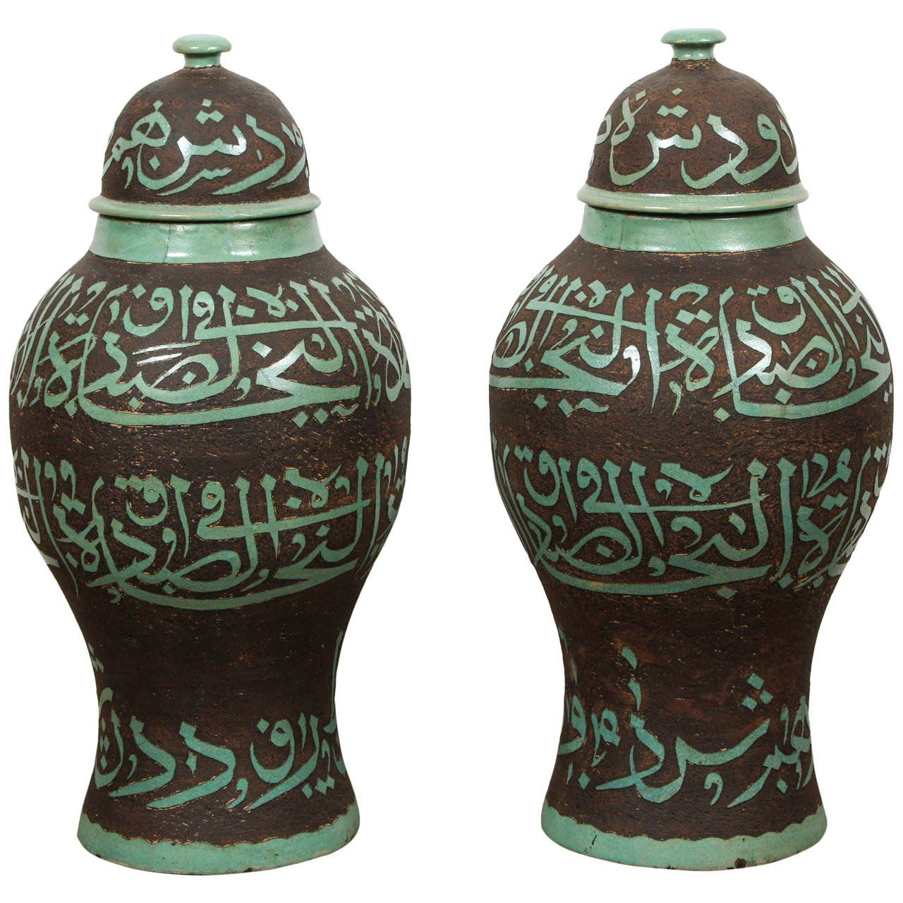 Decorative Urns With Lids Large Moroccan Brown And Green Ceramic Urns With Lid  From A