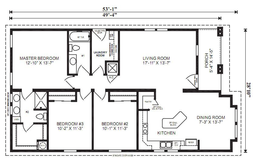 The oxford 3 bedrooms 2 baths square feet 1 461 dimensions 49 39 4 x 28 39 10 lake house Master bedroom and bath square footage
