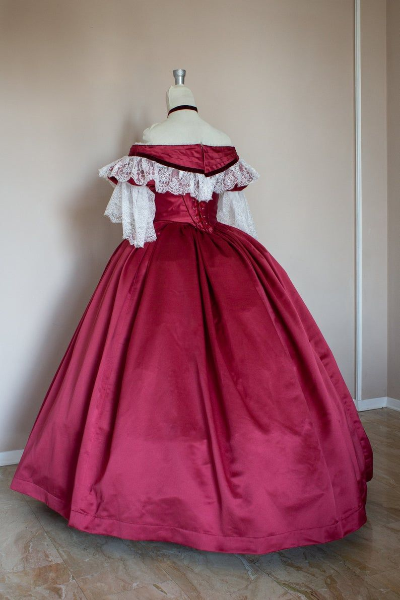 Victorian Prom Dress Victorian Ball Gown Burgundy Satin Etsy In 2021 Victorian Ball Gowns Victorian Ball Gown Ball Gowns [ 1191 x 794 Pixel ]
