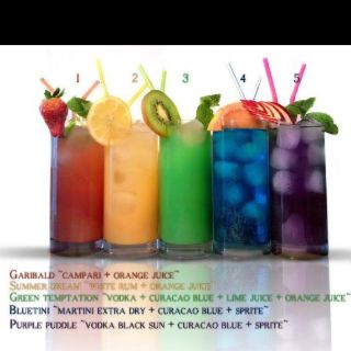 Summertime rainbow of beverages