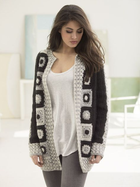 Make this trendy granny square statement cardigan with Lion Brand Heartland! Free crochet pattern calls for 11 - 15 balls of yarn (pictured in black canyon, mount rainier, and katmail) and a size I-9 crochet hook. #grannysquareponcho