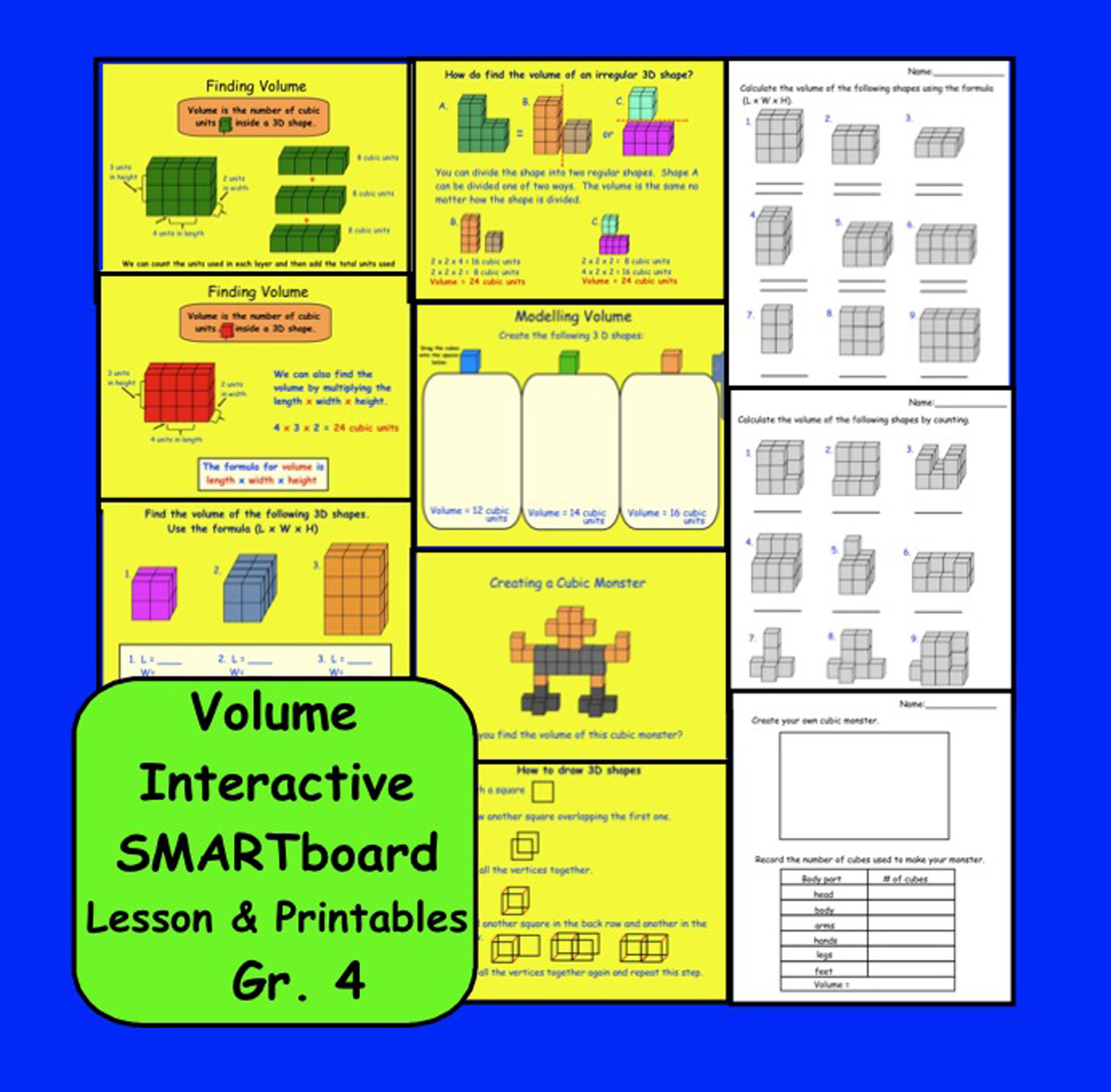 Finding Volume Interactive Smartboard Lesson Amp Printables