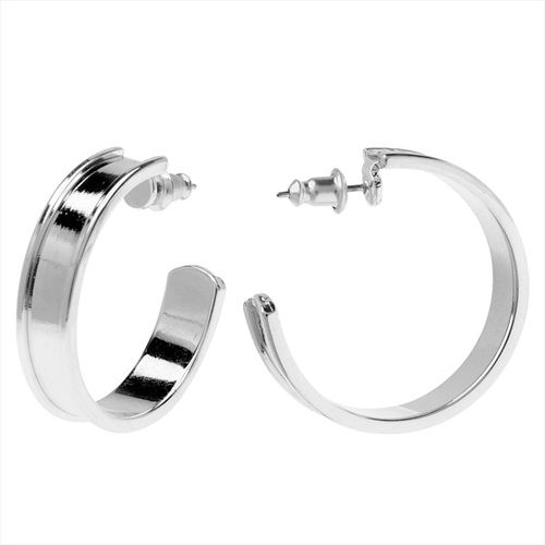 NUNN DESIGN CHANNEL EARRING FINDING 285MM HOOP 1 PAIR BRIGHT SILVER from beadaholique.com