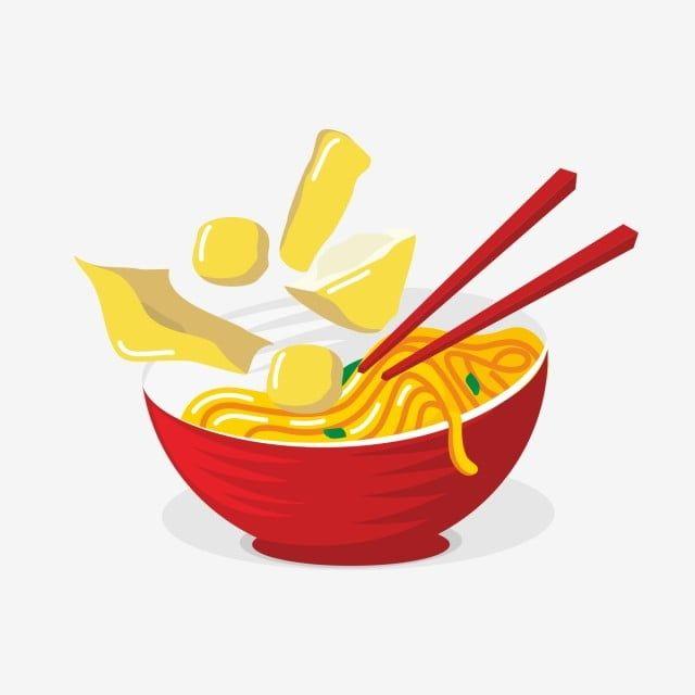 Makanan Asia Mie Ramen Dalam Merah Mangkuk Vektor Ilustrasi Vektor Dan Png Resep Masakan Asia Mangkuk Mie