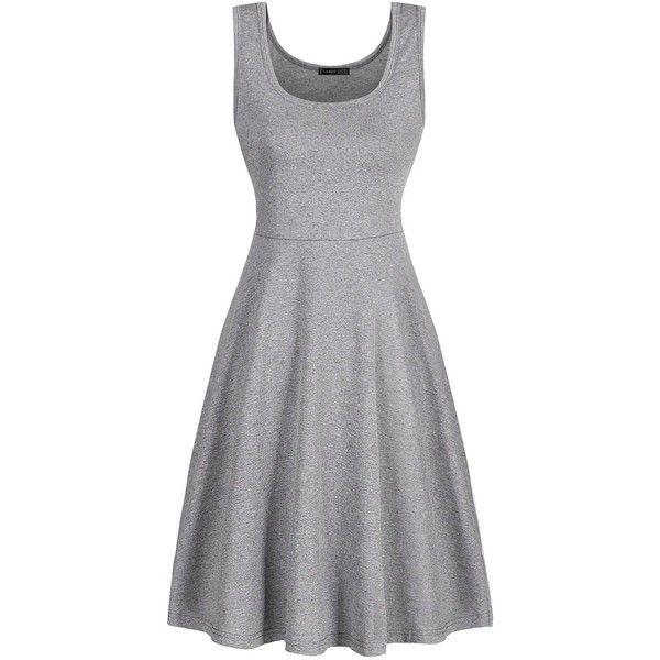 Herou Women Summer Beach Cotton Casual Sleeveless Flared Tank Dress