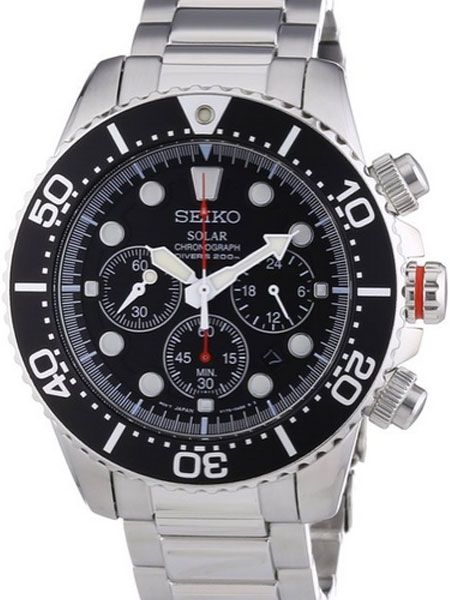 23c90599a Seiko Solar Quartz Chronograph with Stop-Watch and 24-hour Sub-Dial #SSC015