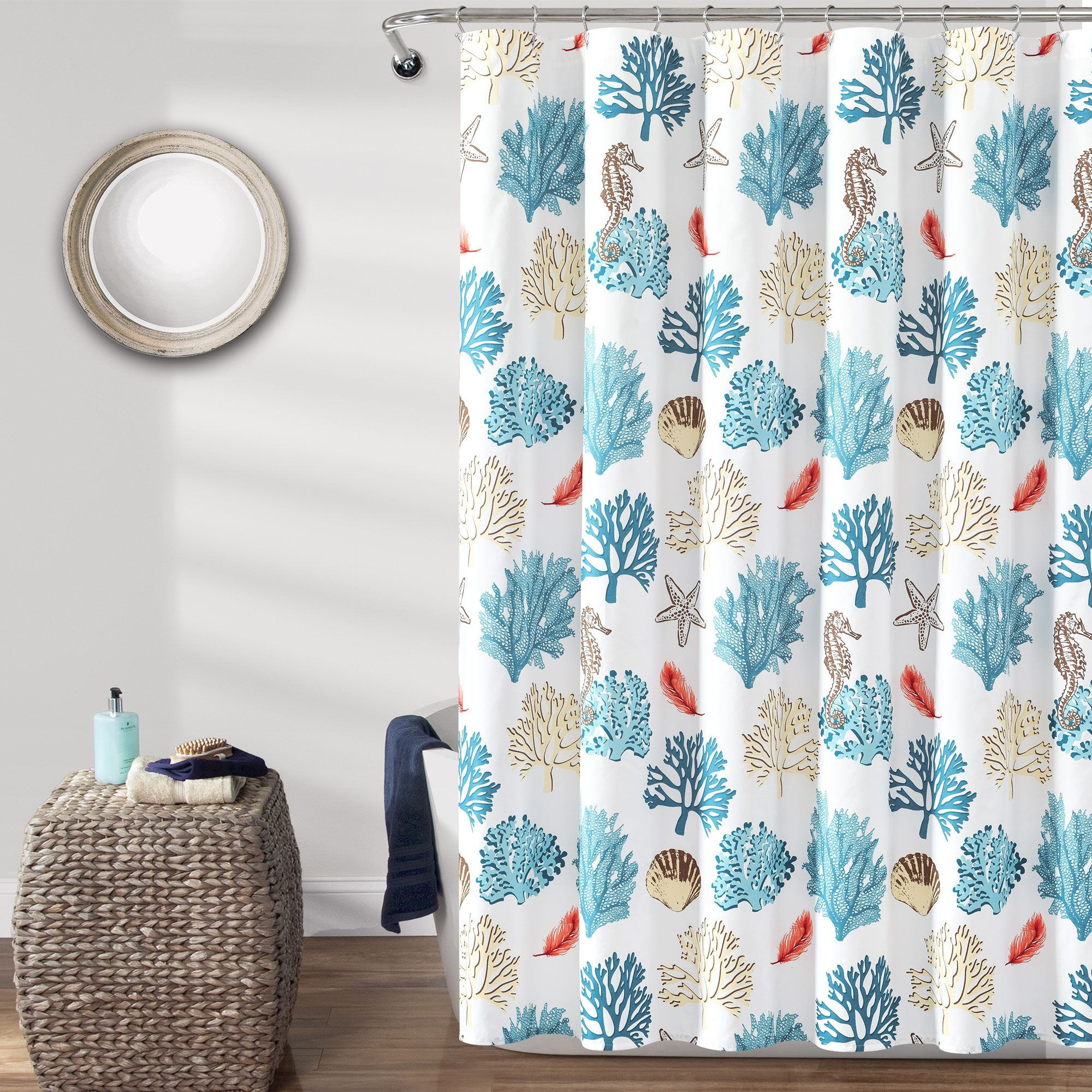 Coastal Reef Feather Shower Curtain Curtains Shower Coral Blue
