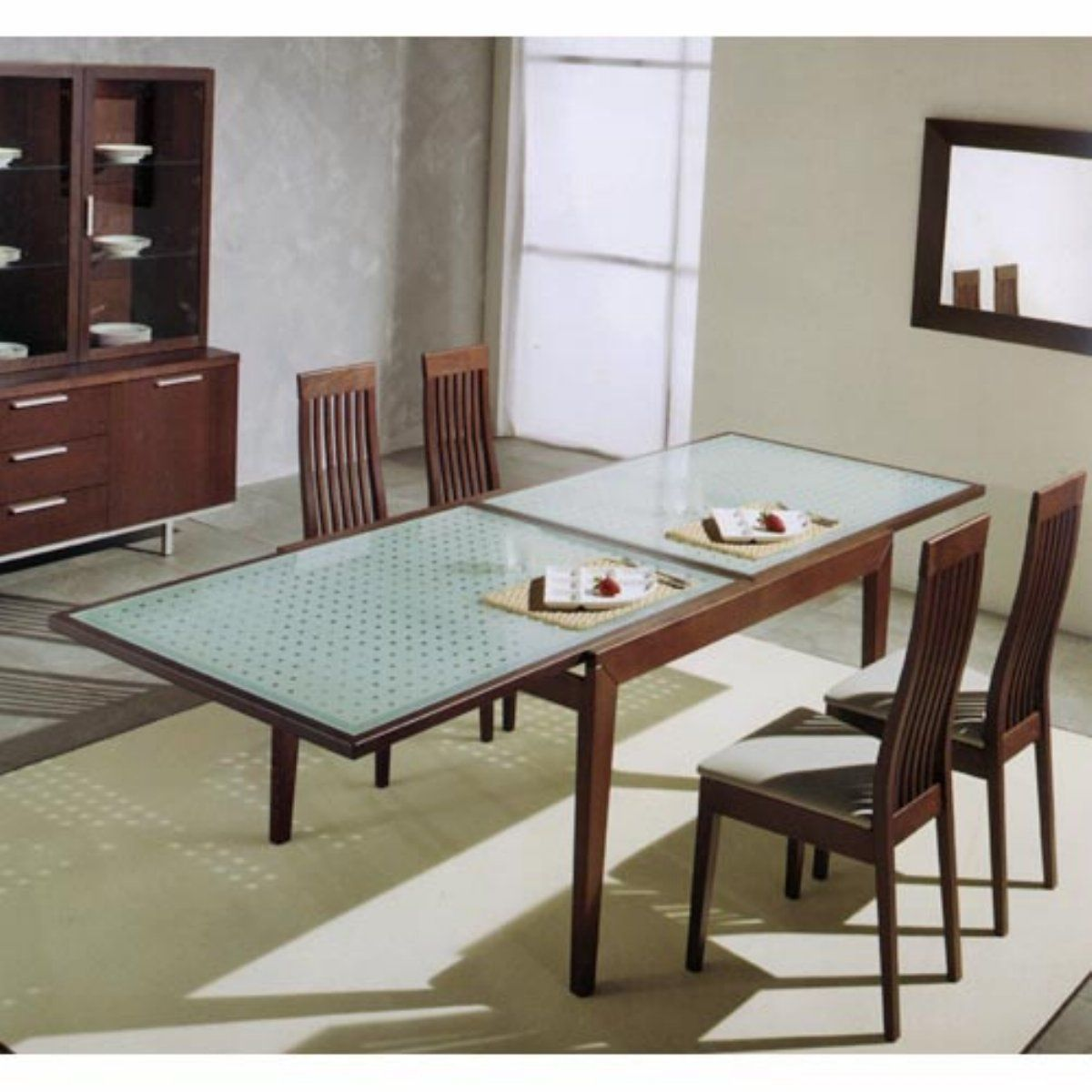 Glass Kitchen Tables Moen Single Handle Faucet Extendable Top Dining Table