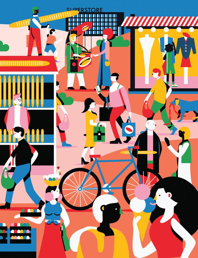Folio illustration agency, London, UK | Kiki Ljung - bold, vector, colourful, - Illustrator