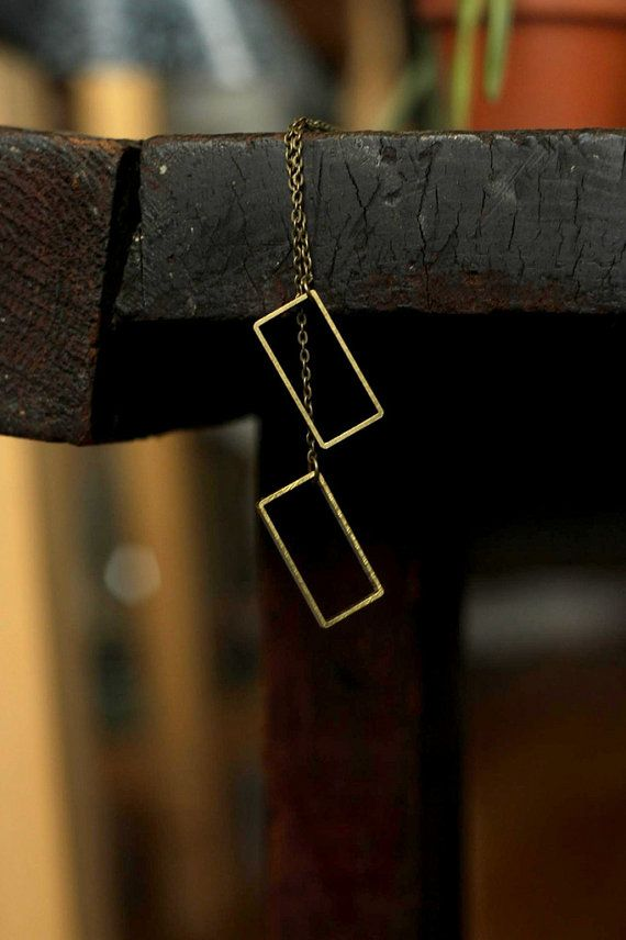 Geometric rectangle necklace with raw brass by acommonthread, $30.00