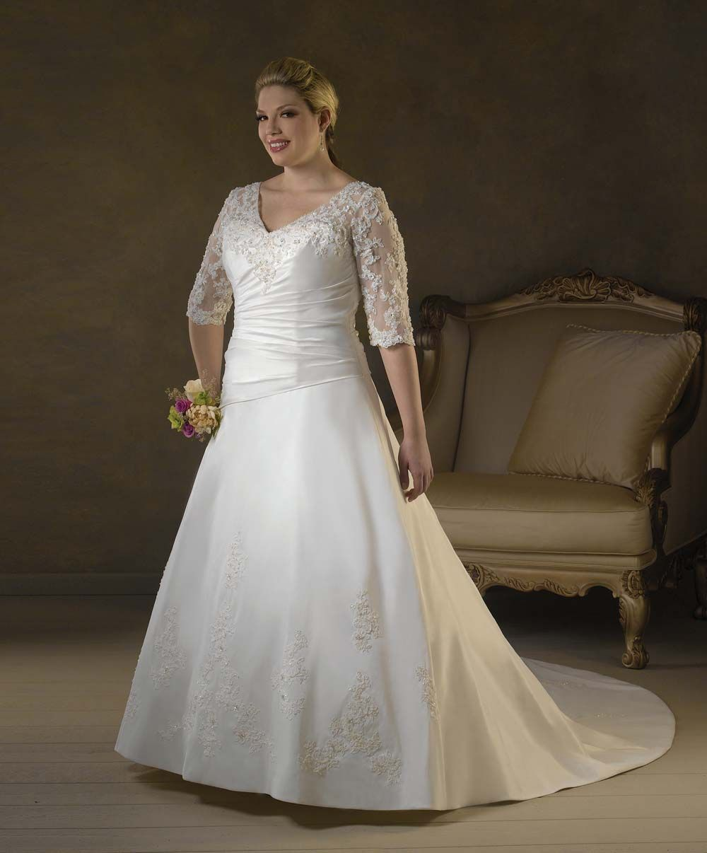Wedding Dresses Plus Size With Color Straps Sweetheart Beauteous Lace Sleeves Applique V Neck Chapel Train