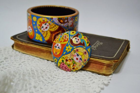 Hand painted Brooch Wooden Handmade Russian style  Made to