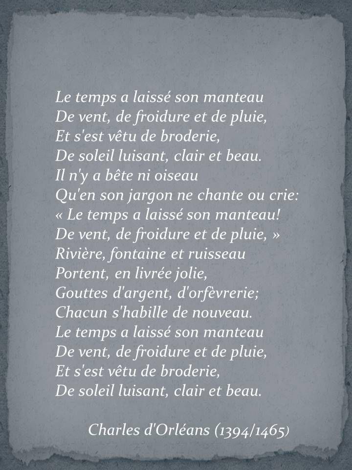 Charles D'orléans Le Temps A Laissé Son Manteau : charles, d'orléans, temps, laissé, manteau, Lymond's, Poetry, Temps, Laissé, Manteau