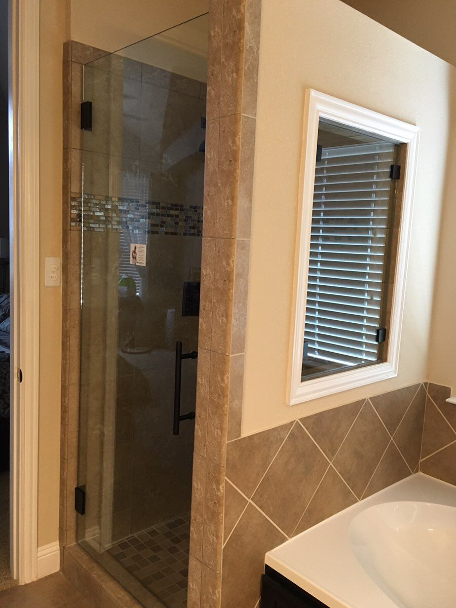 Lesscare clear glass shower door ultra b 44 48 wide x 76 high chrome - Frameless Shower Door 8 Ladder Pull Oil Rubbed Bronze Hardware And Shower