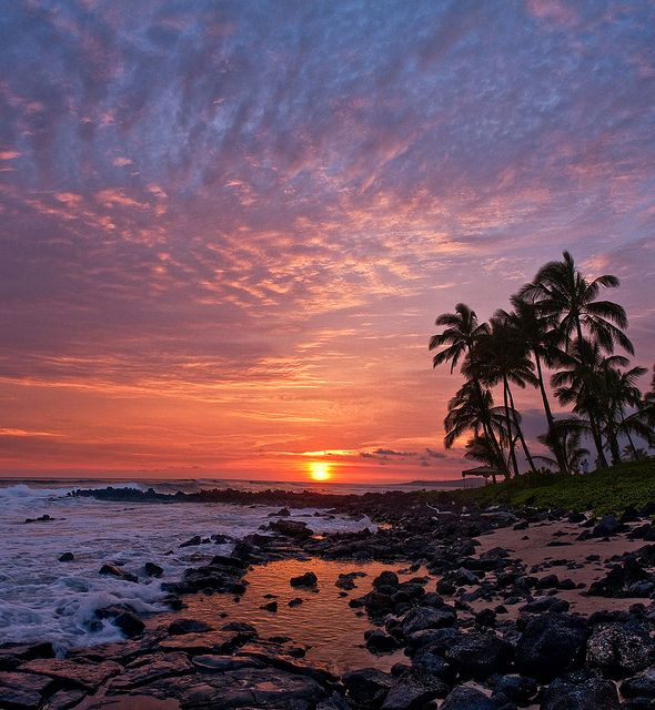 Poipu Sunset   Beautiful sunset, Scenic photography, Sunset nature