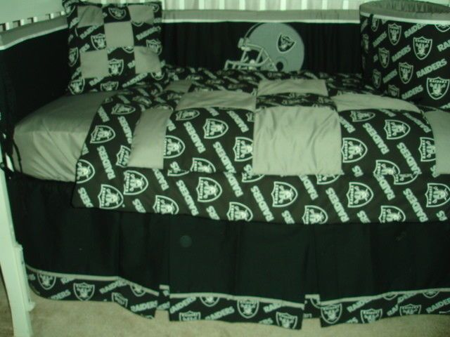 Custom Made Baby Crib Nursery Bedding Set M W Oakland Raiders Nfl Fabric
