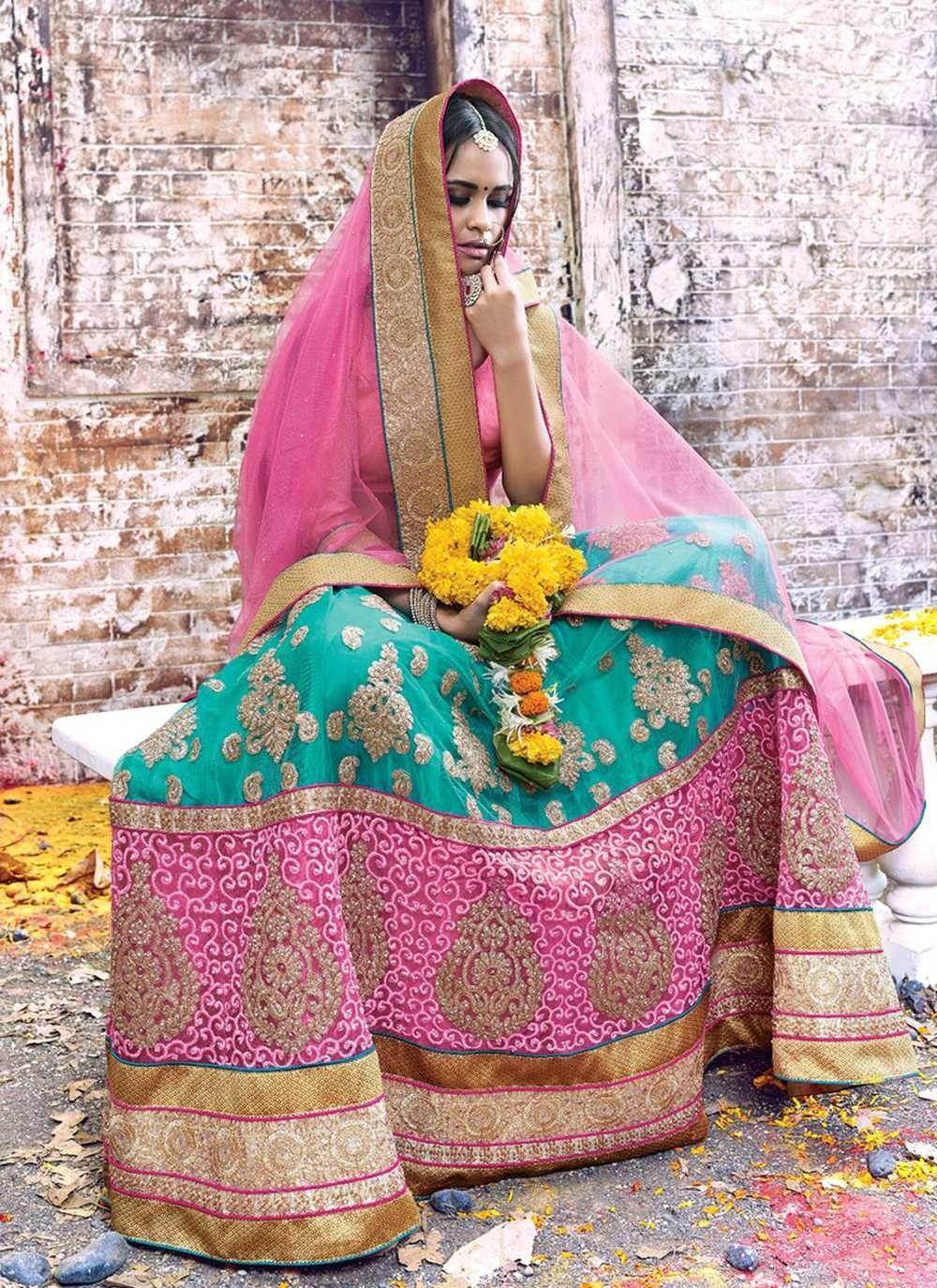 Turquoise Lehenga Choli for Ring Ceremony, Net Lehenga Choli for ...