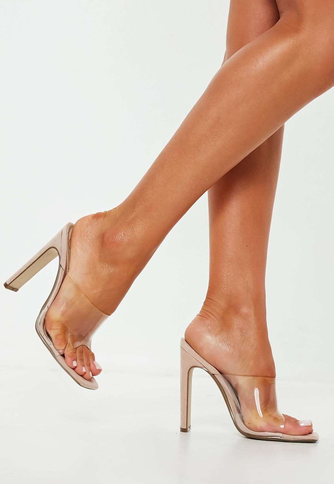 1c4be5bdd424 Missguided - Nude Square Toe Clear Strap Illusion Heel Mule