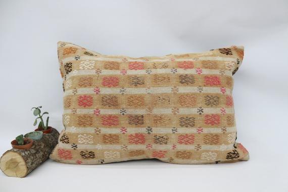 Kilim Pillow Cover, Beige Pillow 16x24, Throw Pillow, Turkish Pillow, Wholesale Pillow, Pink Pillow,