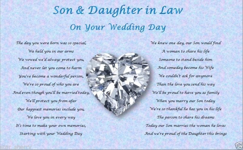 Wedding Gifts For My Son And Daughter In Law : SON & DAUGHTER IN LAW- Wedding Day (Poem gift) Wedding, Daughters ...