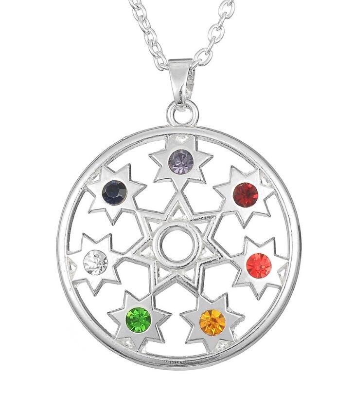 Flower of Life Jewerly Stones and Crystals OM Yoga Chakra Pendant