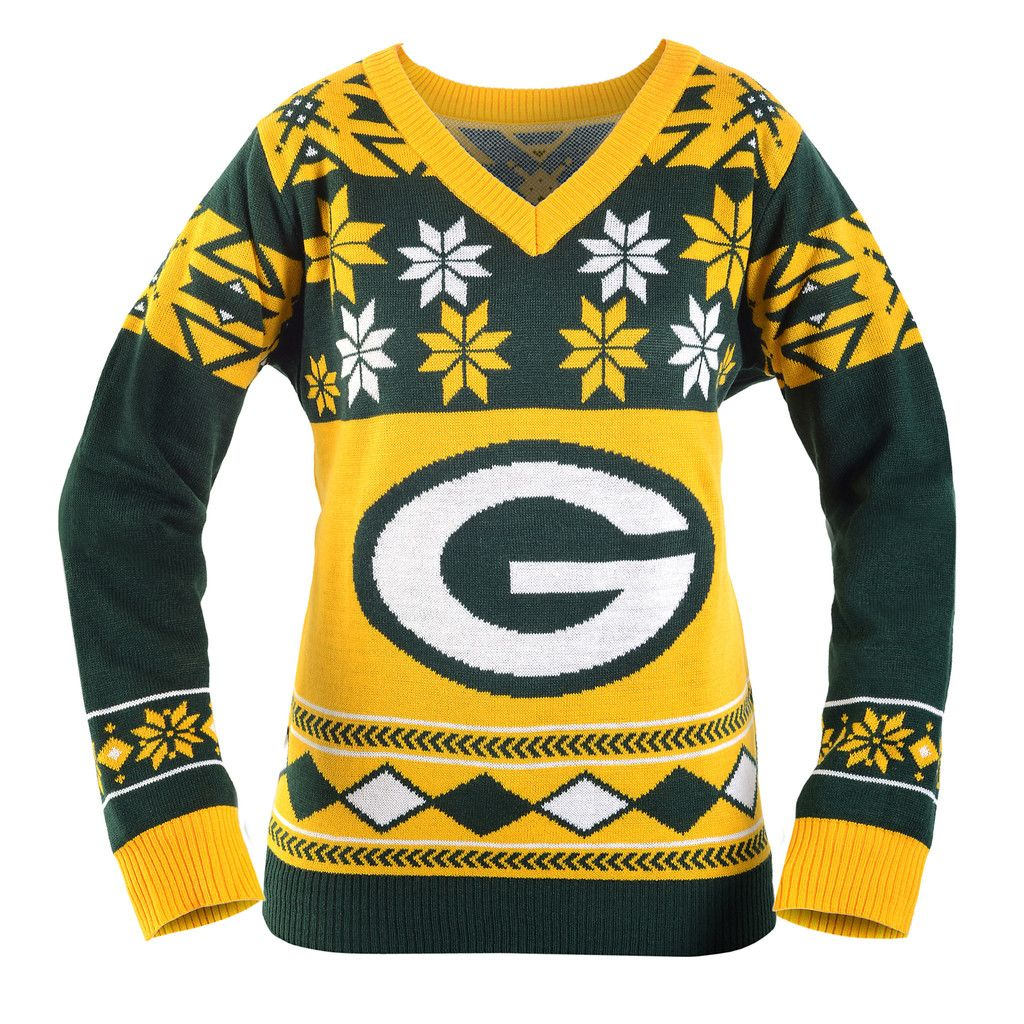 Green Bay Packers Women S Big Logo V Neck Sweater Green Bay Packers Green Bay Packers Women Packers Womens