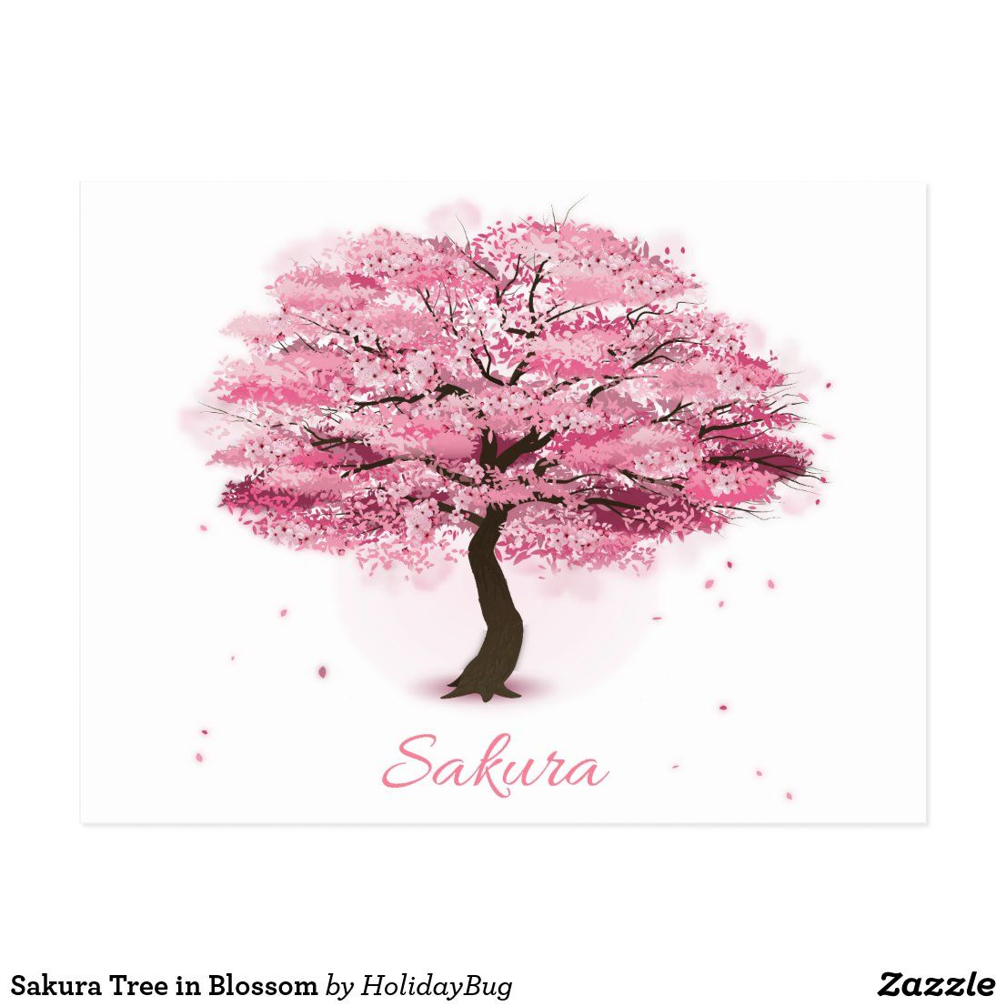 Sakura Tree In Blossom Postcard Zazzle Com In 2021 Cherry Blossom Drawing Cherry Blossom Tree Tattoo Cherry Blossom Painting