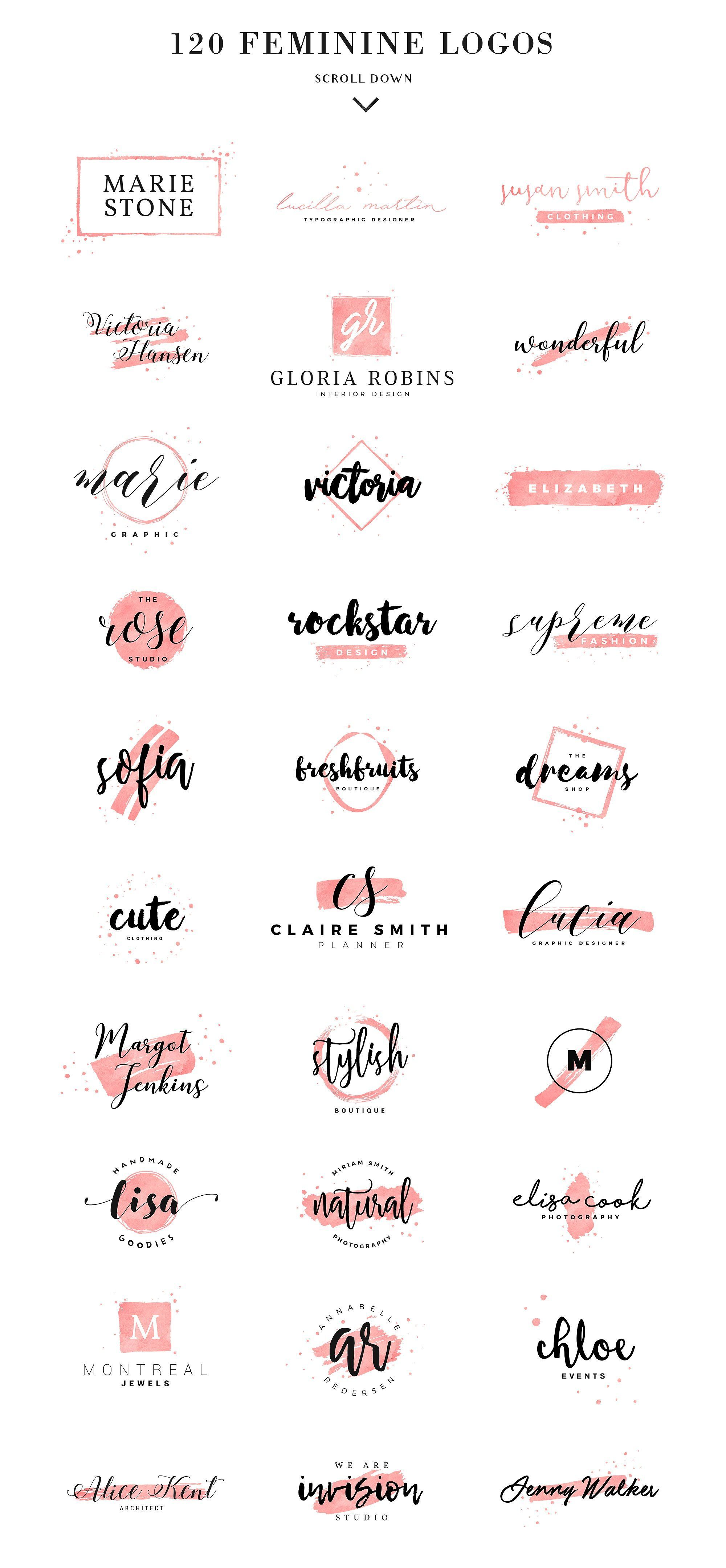 120 Feminine Branding Logos by Davide Bassu on